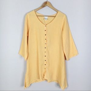 Soft Surroundings Orange 100% Linen Button Tunic